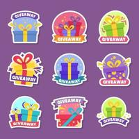 Colorful Giveaway Boxes Stickers vector