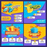 tarjetas publicitarias de sorteo emergentes vector