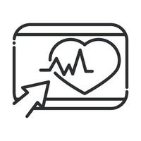 online health website clicking heartbeat covid 19 pandemic line icon vector