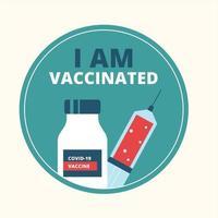 vaccination campaign badge vector illustration