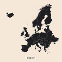 The political detailed map of the continent of Europe with borders of countries vector