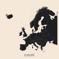 The political detailed map of the continent of Europe with Russia with borders of countries vector