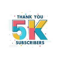 gracias 5k suscriptores tarjeta de felicitación de celebración para 5000 suscriptores sociales vector