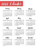 Calendario vertical para el año 2022 aislado sobre fondo blanco. vector