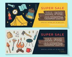 Seasonal banner set with camping elements vector