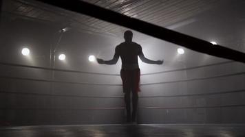 boxeador, saltar la cuerda, en, ring de boxeo video