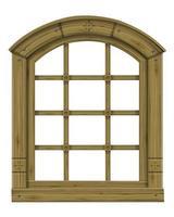 ventana arqueada clásica de madera vector