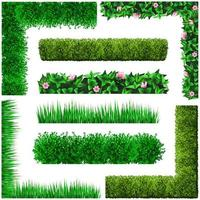 Set of green floral frames from leaves vector