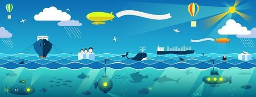 Panorama of the marine landscape vector clipart