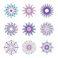 Minimalist Fireworks Icon Collection vector