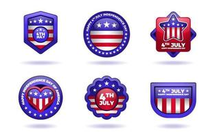 Fourth Of July America Independence Day Badge Collection vector