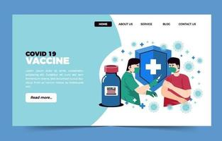 Doctor Give Covid 19 Vaccine Landing Page Template vector