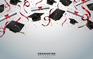 sombreros de graduación y fondo de pergaminos vector