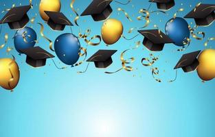 Graduation Hats Background with Balloon and Confetti vector