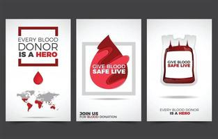 Minimalist Blood Donation Cards Collection vector