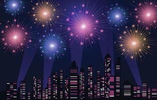 City Night Skyline with Fireworks Festival Scene vector