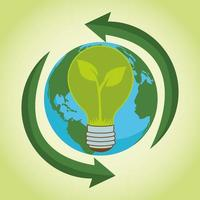 save the world environmental poster with earth planet and bulb vector