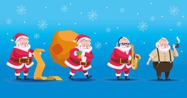 four cute santas group comic characters vector