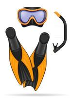 diving mask and flippers for snorkel stock vector illustration isolated on white background