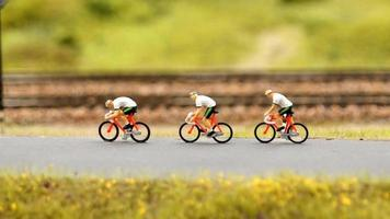 cyclists on the road miniature animation video