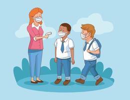 Covid preventivo en la escena escolar con estudiantes, niños y maestros. vector