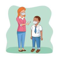 Covid preventivo en la escena escolar con personajes de estudiantes y maestros. vector