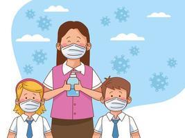 Covid preventivo en la escena escolar con pareja de estudiantes y maestro usando jabón antibacteriano vector