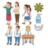 covid preventivo en la escena escolar con alumnos y profesores vector