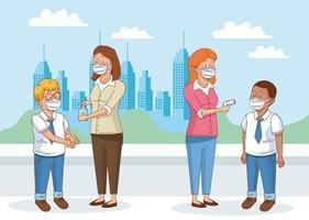 covid preventivo en la escena escolar con alumnos chicos y profesores vector