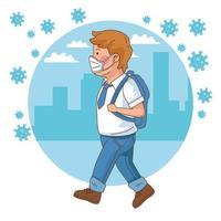 covid preventivo en la escuela con niño estudiante caminando vector