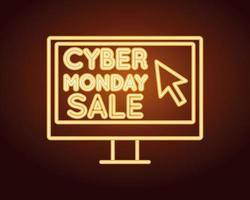 cyber monday sale neon light with desktop vector