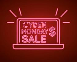 cyber monday sale neon light with laptop vector