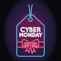 cyber monday sale neon light with tag hanging vector