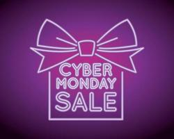 cyber monday sale neon light with gift vector