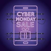 cyber monday sale neon light with smartphone vector