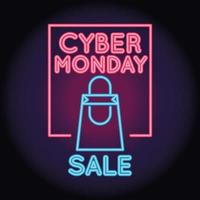 cyber monday sale neon light with shopping bag and lettering vector