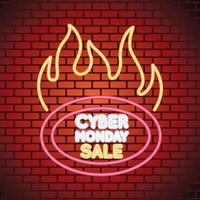 cyber monday sale neon light with label onfire in wall vector