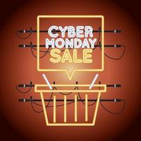 cyber monday sale neon light with shopping basket vector