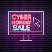 cyber monday sale neon light with desktop in wall vector