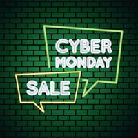 cyber monday sale neon light with speech bubbles in wall vector