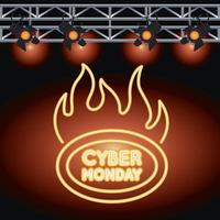 cyber monday sale neon light with label onfire and lamps vector