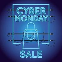 cyber monday sale neon light with shopping bag vector