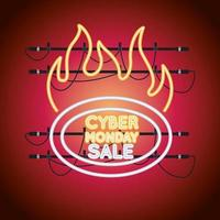 cyber monday sale neon light with label onfire vector