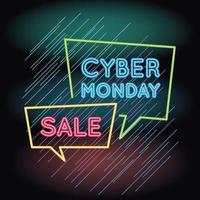 cyber monday sale neon light with speech bubbles vector