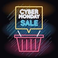 cyber monday sale neon light with shopping basket and speech bubble vector