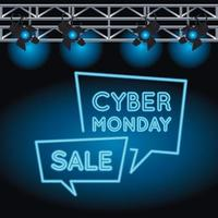cyber monday sale neon light with speech bubbles and lamps vector