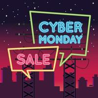 cyber monday sale neon light with speech bubbles on the city vector