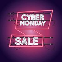 cyber monday sale neon light with ribbon frame vector