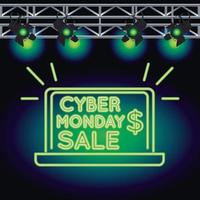cyber monday sale neon light with laptop and lamps vector
