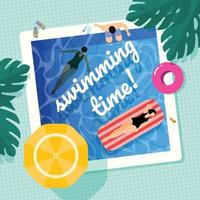 Two Ladies And A Man Enjoying Swimming Pool vector